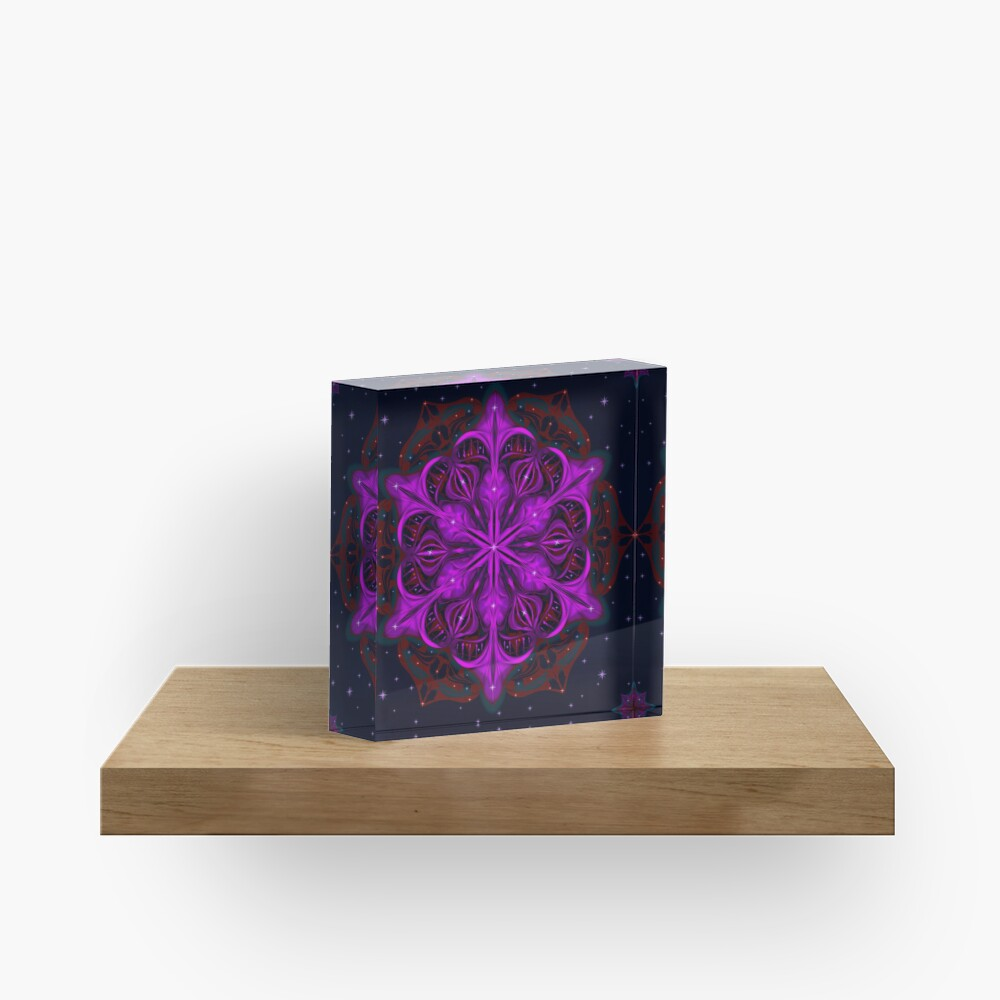 Spaceborne Orchid Snowflake Acrylic Block