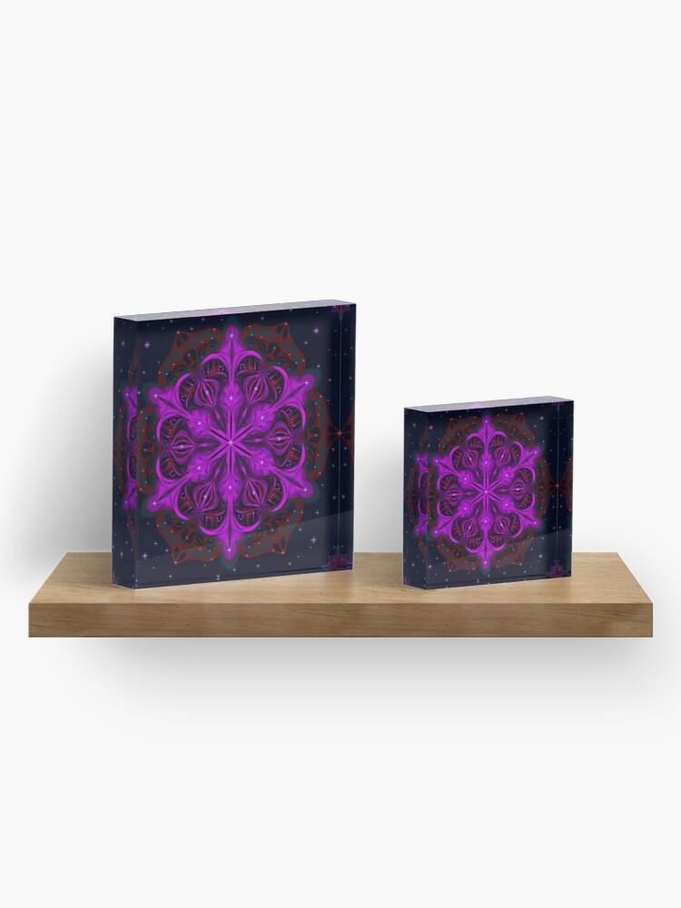 Alternate view of Spaceborne Orchid Snowflake Acrylic Block