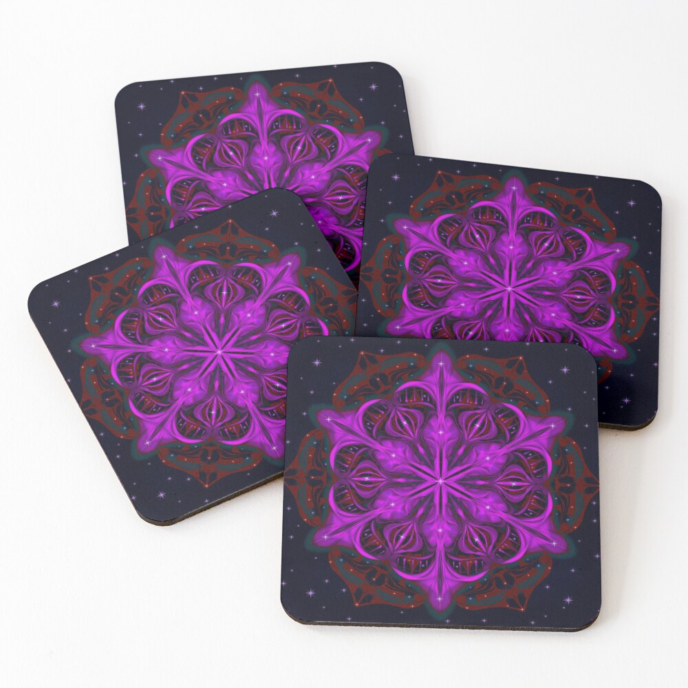 Spaceborne Orchid Snowflake Coasters (Set of 4)