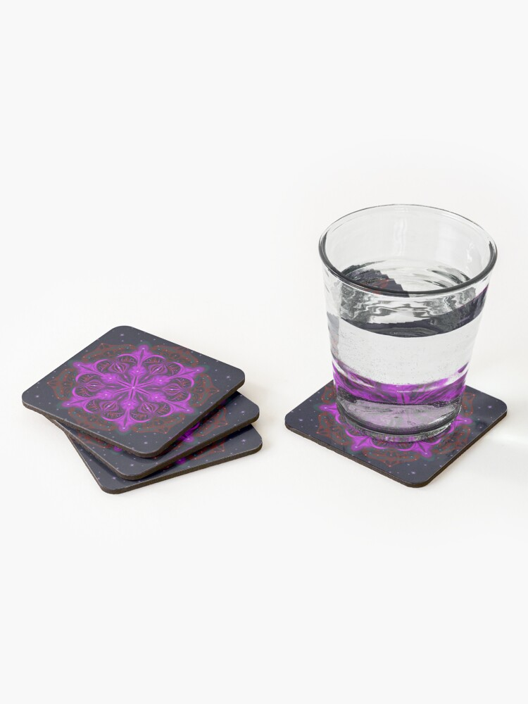 Alternate view of Spaceborne Orchid Snowflake Coasters (Set of 4)