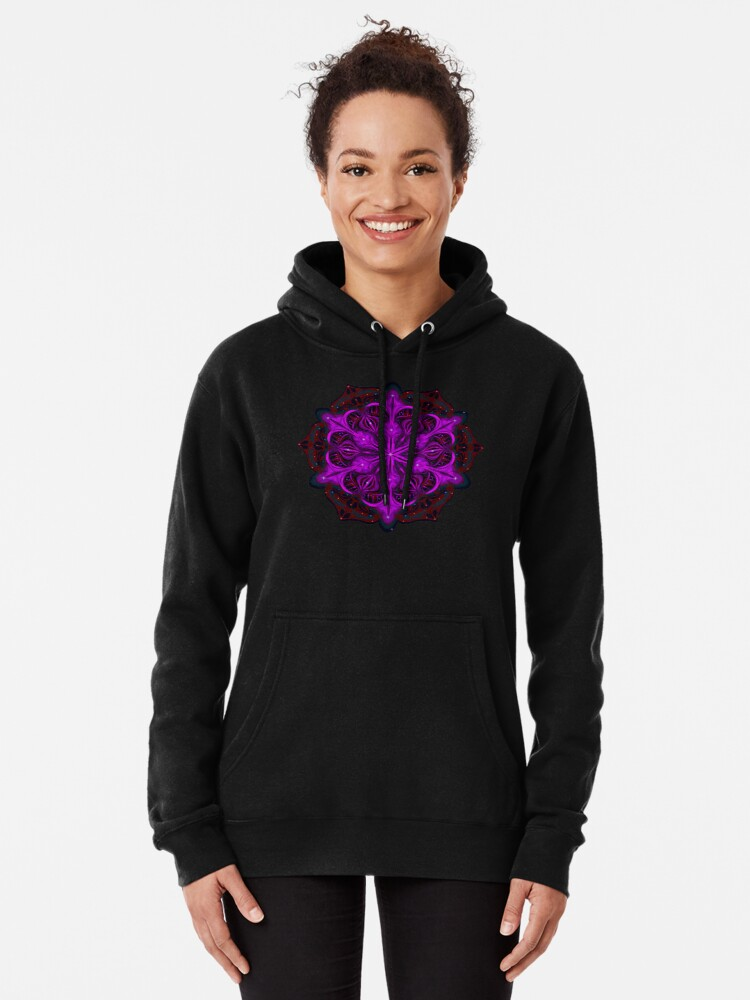 Alternate view of Spaceborne Orchid Snowflake Pullover Hoodie