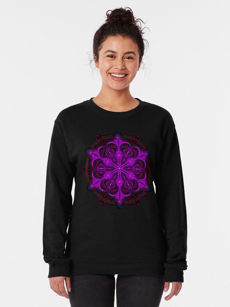Alternate view of Spaceborne Orchid Snowflake Pullover Sweatshirt