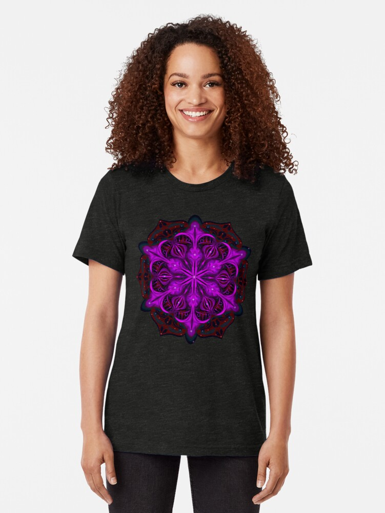 Alternate view of Spaceborne Orchid Snowflake Tri-blend T-Shirt