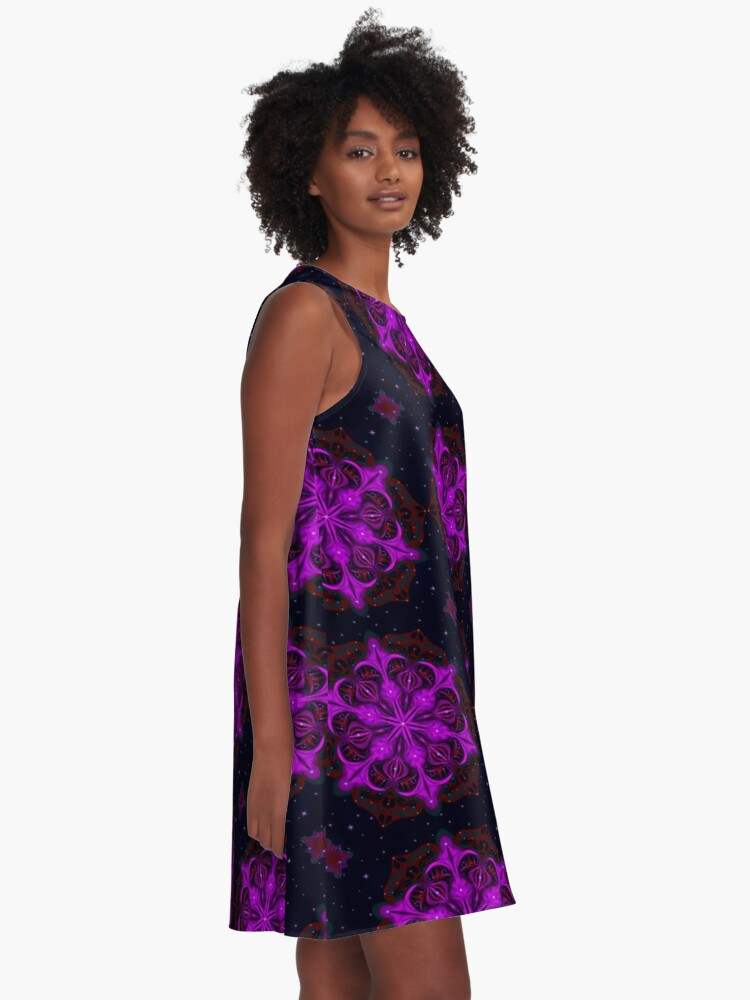 Alternate view of Spaceborne Orchid Snowflake A-Line Dress