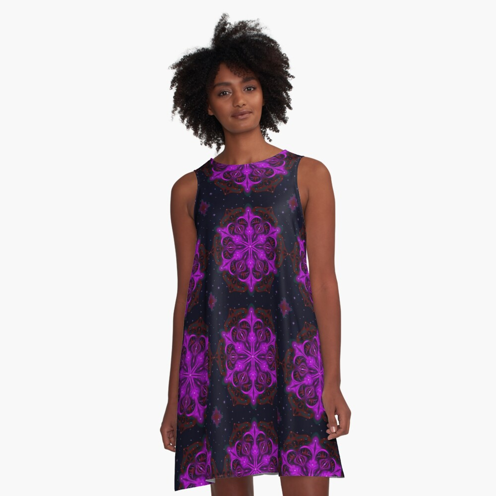 Spaceborne Orchid Snowflake A-Line Dress