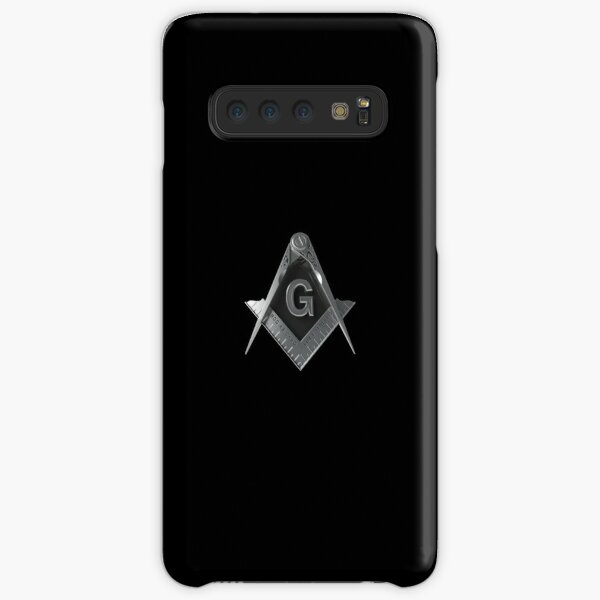 Freemason Silver Square & Compass Black Background Masonic Samsung Galaxy Snap Case