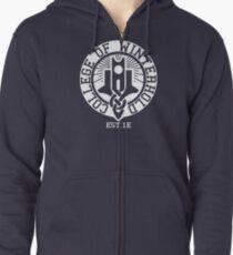 Hochschule Winterhold Est. 1E (weiß) Hoodie mit Reißverschluss