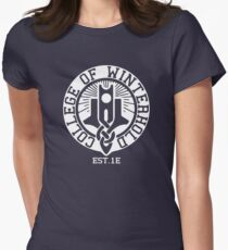 College of Winterhold Est. 1E (white) Women's Fitted T-Shirt