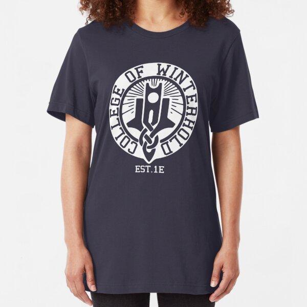 College of Winterhold Est. 1E (white) Slim Fit T-Shirt