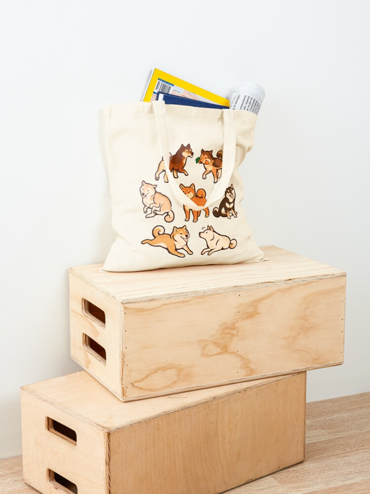 Alternate view of shibes in blue Tote Bag