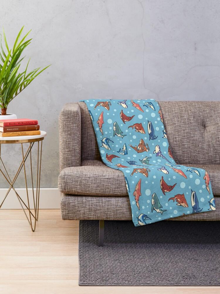 Alternate view of Sharks in the light blue Throw Blanket
