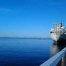 Ship Docked on Puget Sound, WA by ANNA MCALISTER