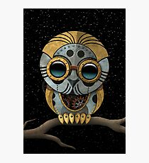 Cute Steampunk Robotic Baby Owl Photographic Print