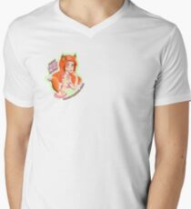 Mandy Fox Girl V-Neck T-Shirt