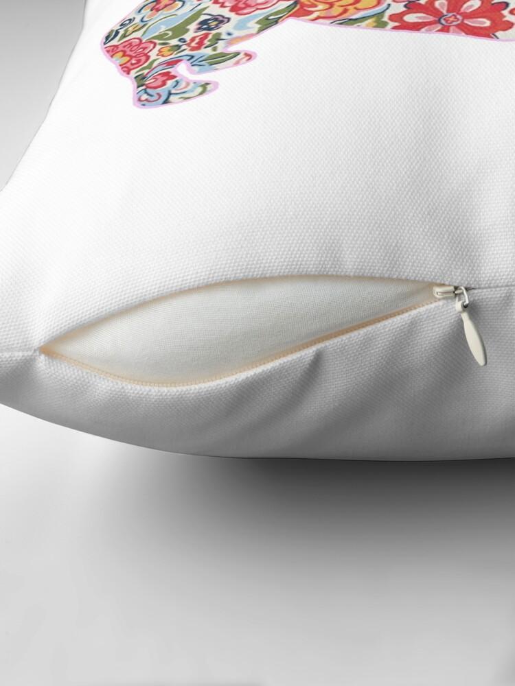 Alternate view of Corgi Preppy Print Throw Pillow
