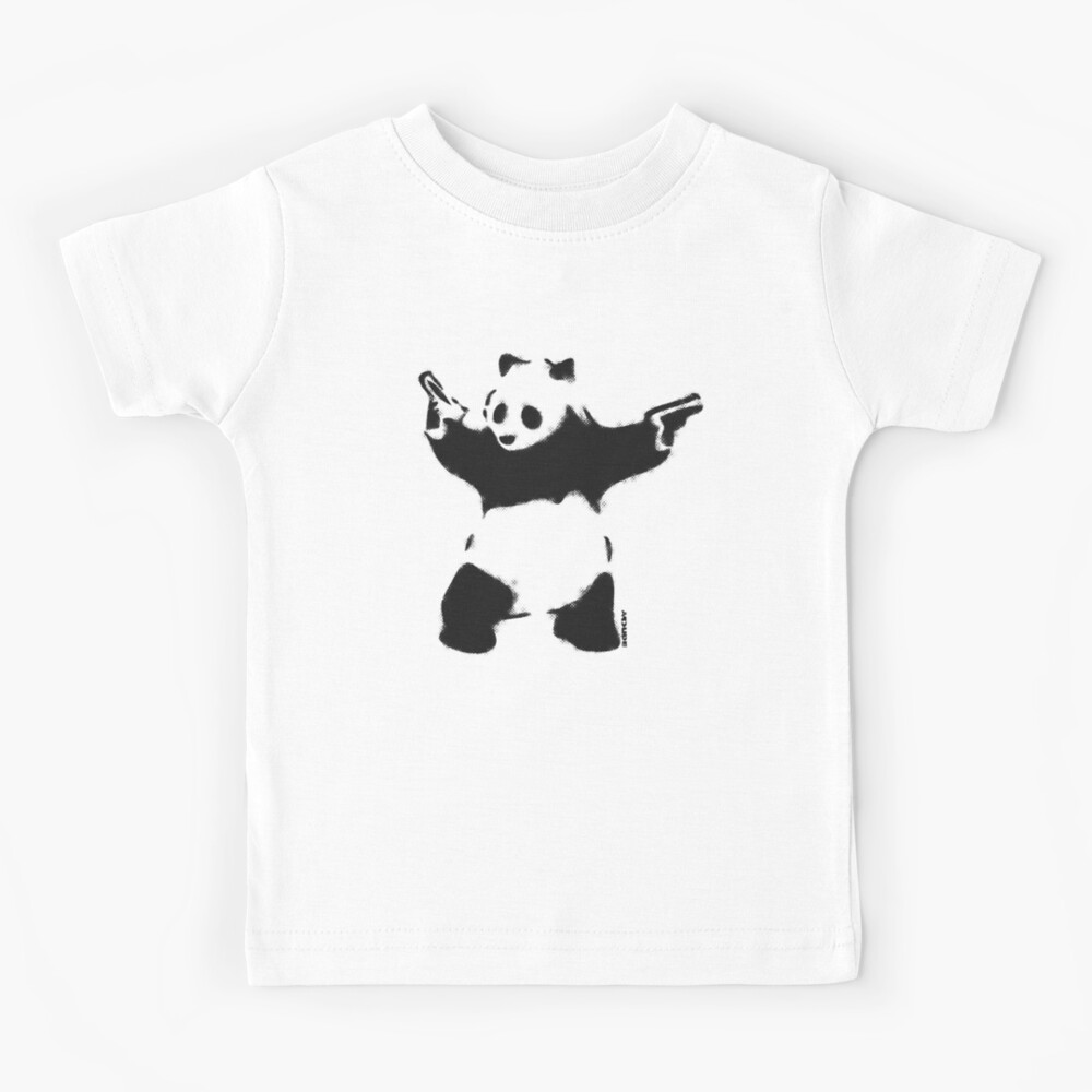 Banksy Panda with guns black and white Graffiti Street art with Banksy signature tag on white background HD HIGH QUALITY ONLINE STORE Kids T-Shirt