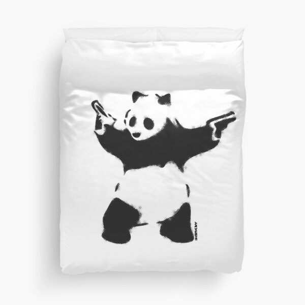 Banksy Panda with guns black and white Graffiti Street art with Banksy signature tag on white background HD HIGH QUALITY ONLINE STORE Duvet Cover