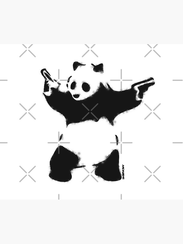 Banksy Panda with guns black and white Graffiti Street art with Banksy signature tag on white background HD HIGH QUALITY ONLINE STORE by iresist