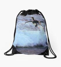 Emperor Penguin 'Flying' Home Drawstring Bag