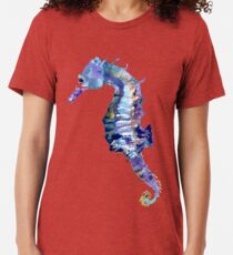Watercolor Seahorse Tri-blend T-Shirt