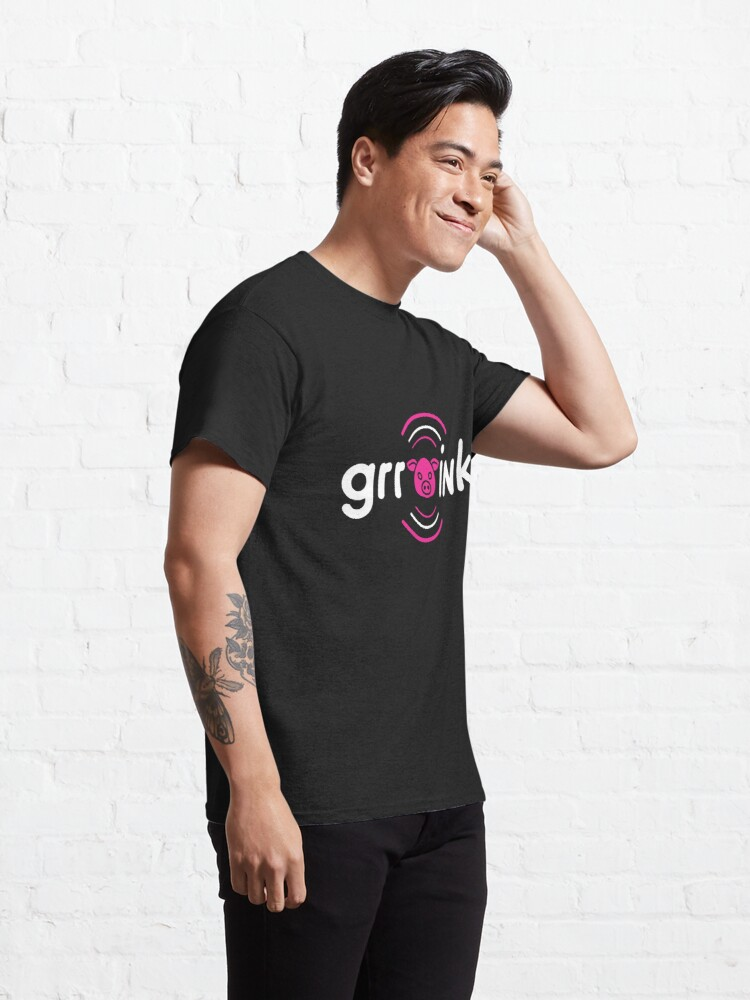 Alternate view of GrrOink Pig (White text) Classic T-Shirt