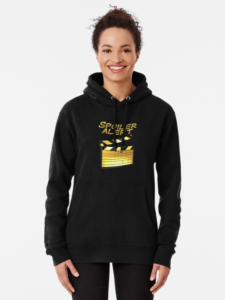 Alternate view of  Binge Watching Funny Statement - SPOILER ALERT! Pullover Hoodie
