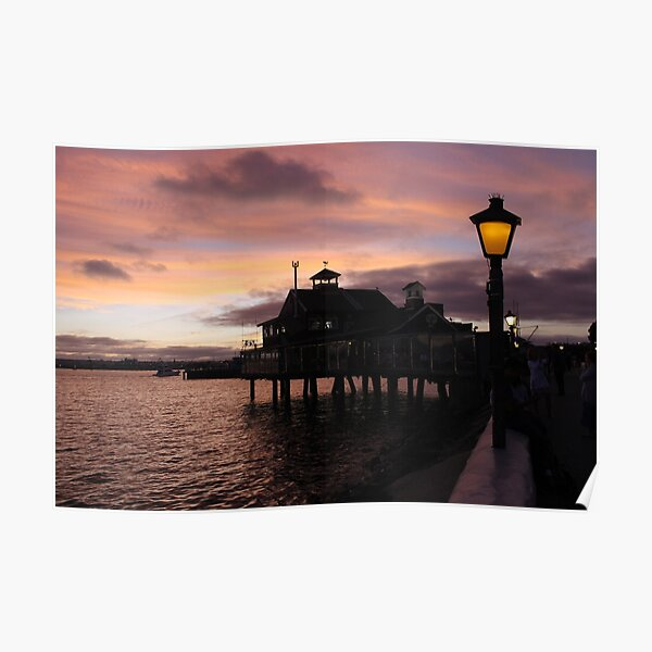 #Evening #view from the #waterfront at Seaport Village, San Diego, #California. #SeaportVillage #SanDiego #EveningView Poster