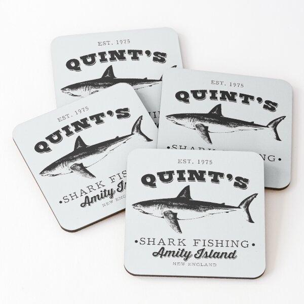Quints Shark Fishing (black mono) Coasters (Set of 4)