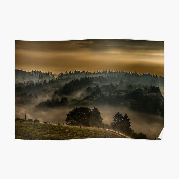 Morning haze landscape photography Poster