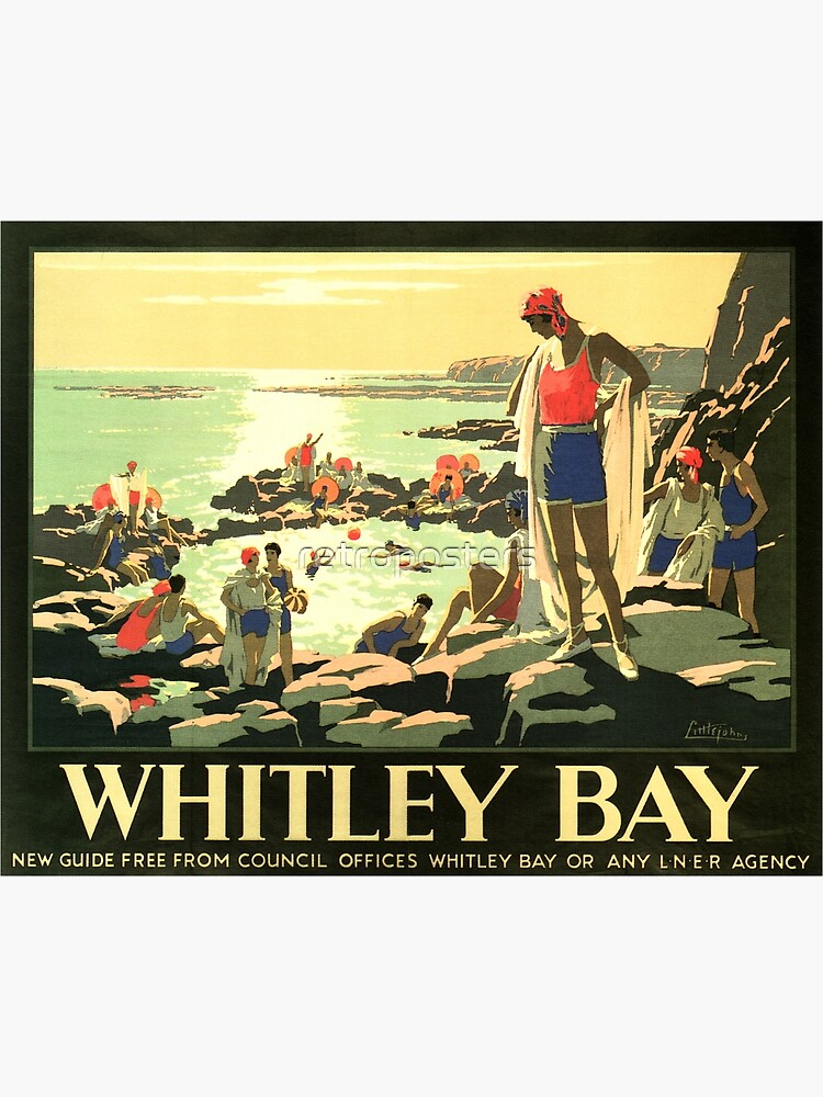 Visit WHITLEY BAY England via LNER Advertisement Vintage Railway by retroposters