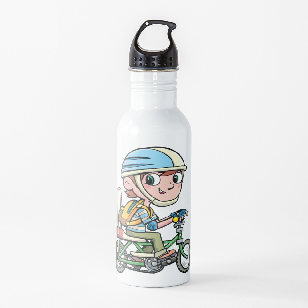 boy rides a boy's bike from the 80's Water Bottle