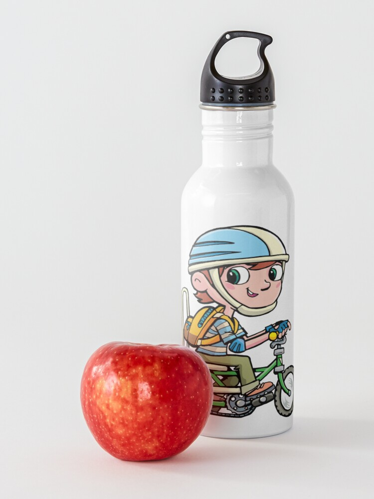 Alternate view of boy rides a boy's bike from the 80's Water Bottle