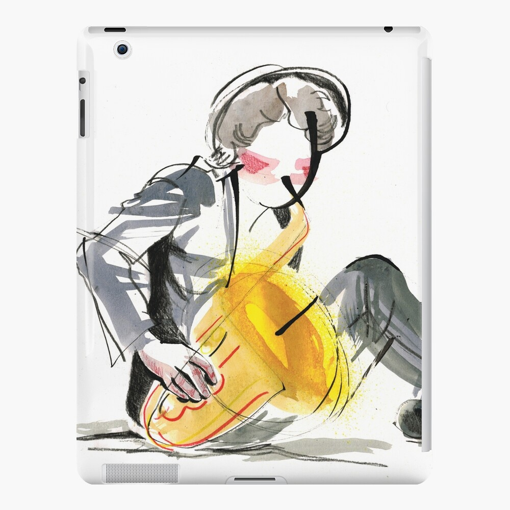 Saxophonist Musician Music Expressive Drawing iPad Case & Skin