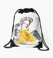 Saxophonist Musician Music Expressive Drawing Drawstring Bag