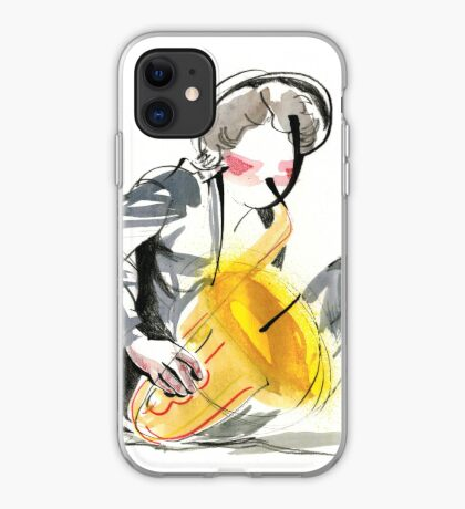 Saxophonist Musician Music Expressive Drawing iPhone Case