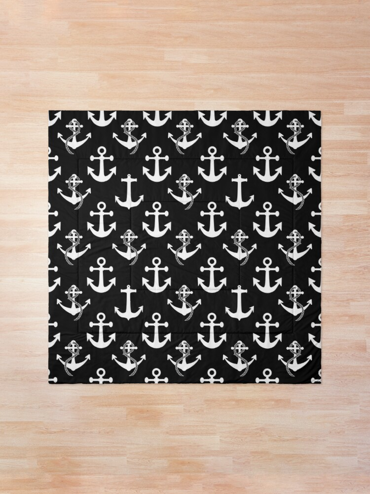 Alternate view of Black and White Nautical Anchor Pattern Comforter