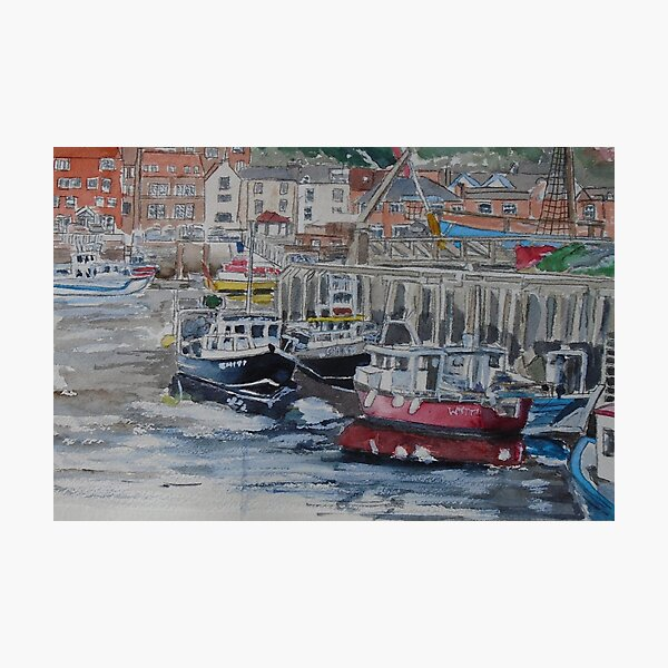 Boats in Whitby Harbour Photographic Print