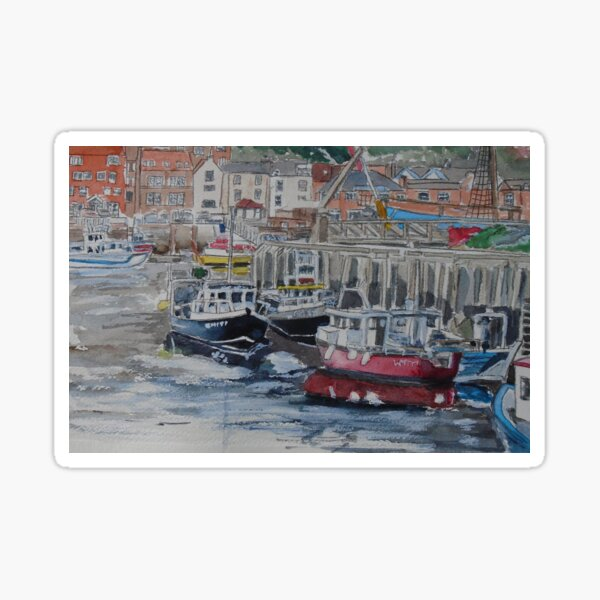 Boats in Whitby Harbour Sticker