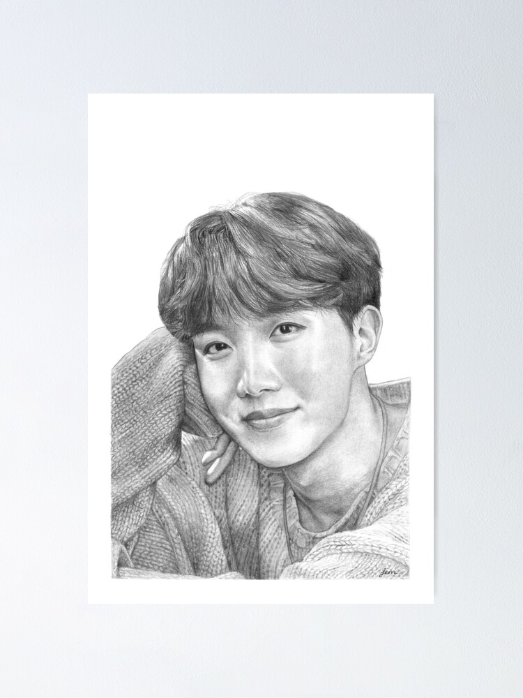j hope realistic pencil drawing poster by honeybangtann redbubble
