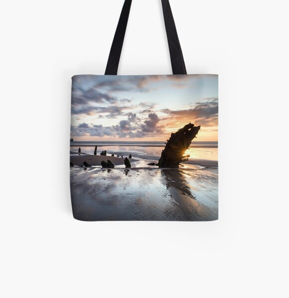 HELVETIA WRECK (Rhossili, Wales) All Over Print Tote Bag
