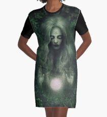 Forest Witch Graphic T-Shirt Dress