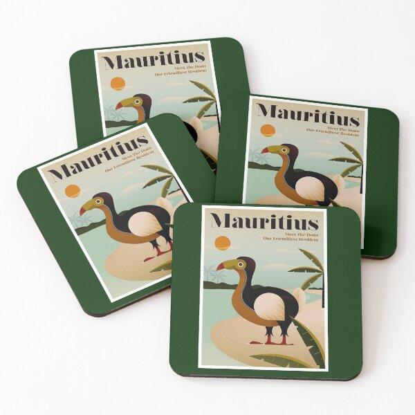 MAURITIUS; Vintage Travel and Tourism Print Coasters (Set of 4)