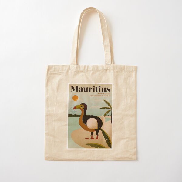 MAURITIUS; Vintage Travel and Tourism Print Cotton Tote Bag