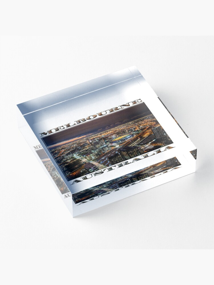 Alternate view of Melbourne at Night (widescreen poster on white) Acrylic Block
