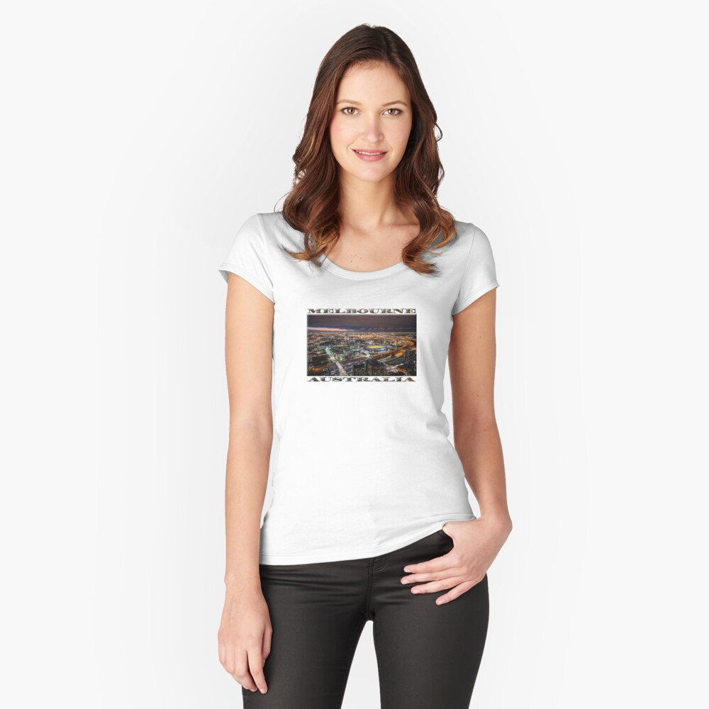 Melbourne at Night (widescreen poster on white) Fitted Scoop T-Shirt