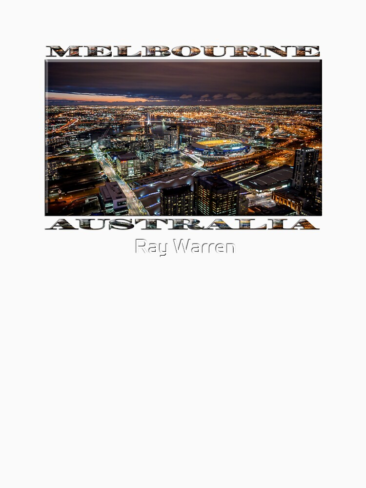 Melbourne at Night (widescreen poster on white) by RayW