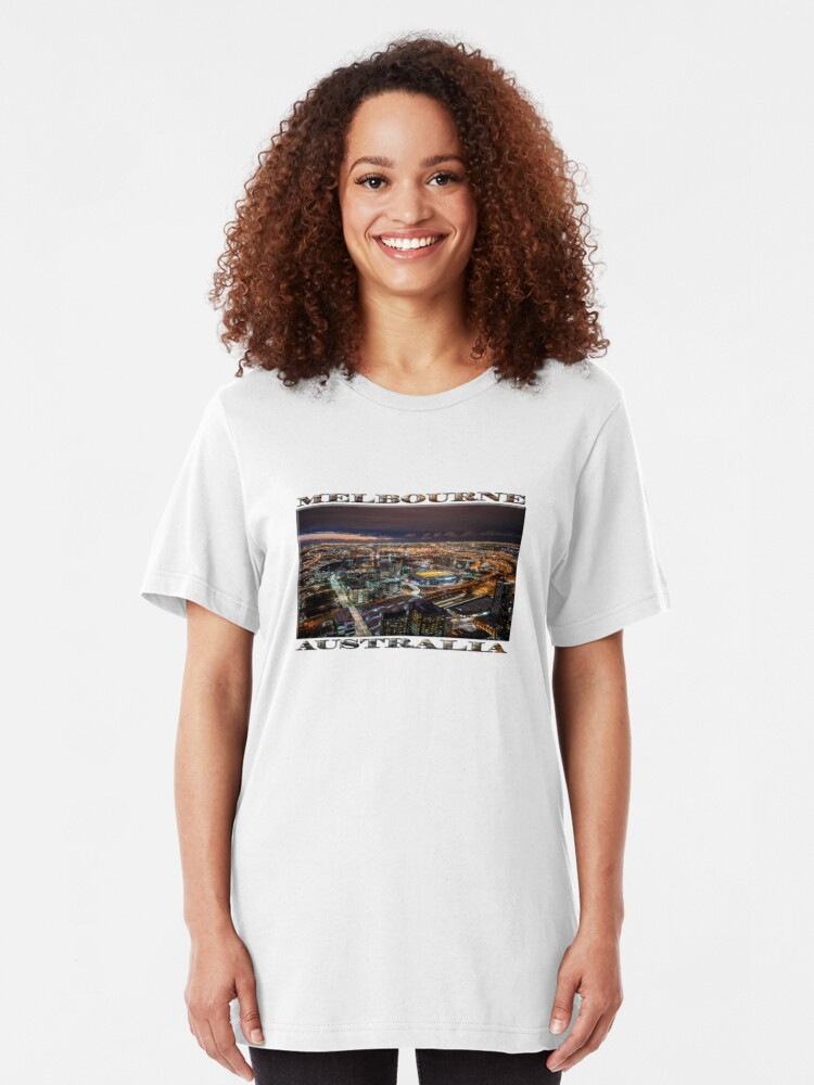 Alternate view of Melbourne at Night (widescreen poster on white) Slim Fit T-Shirt