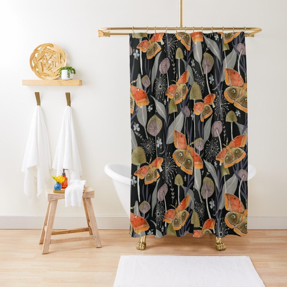 Midnight Moth Shower Curtain