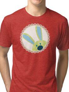 BUNNIES :: peeking circle 3 Tri-blend T-Shirt