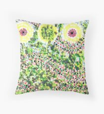 Sunflowers Aboriginal Style Throw Pillow